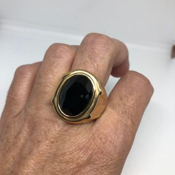 Vintage Gothic Gold Finished Stainless Steel Black Onyx Genuine Mens Ring