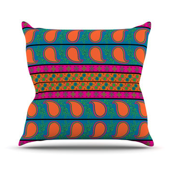 "Nandita Singh ""Bohemian V"" Orange Blue Outdoor Throw Pillow"
