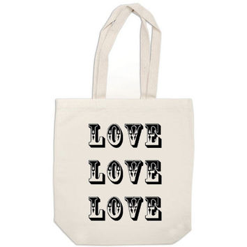 SALE canvas tote bag Love Love Love Beatles quote book bag tote