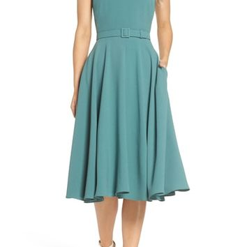 Gal Meets Glam Collection Kaye Belted Fit & Flare Dress | Nordstrom