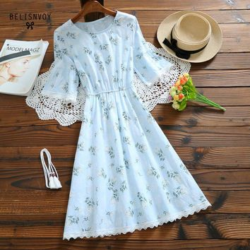 Mori Girl Sweet Short Sleeve Dress Summer Women Cotton Linen Floral Printed Dresses Green Pink Female Crochet Vintage Vestidos
