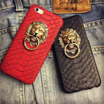 Trendy Metal Lion Head Snake Leather Skin Punk Hip hop Mobile Phone Case Cover for IPhone 7 7Plus 6 6S 6plus 5 5S 5SE with Metal