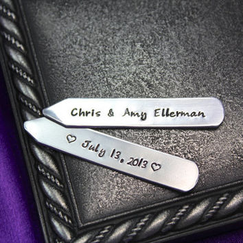 Personalized men's Collar stays, Personalized men's gift, Personalized Groomsman gift, Personalized Wedding