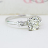 Mid Century Engagement Ring   1940s Diamond Ring   Vintage Engagement Ring in 14k   1940s Wedding Ring   1.075 Ct Diamond Solitaire   Size 6
