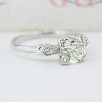 Mid Century Engagement Ring | 1940s Diamond Ring | Vintage Engagement Ring in 14k | 1940s Wedding Ring | 1.075 Ct Diamond Solitaire | Size 6