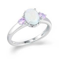 Oval Lab-Created Opal, Pink Sapphire and Diamond Accent Ring in Sterling Silver - View All Jewelry - Gordon's Jewelers