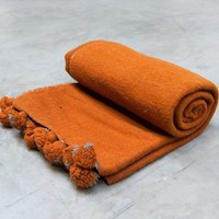 rusty orange woollen blanket with pompoms | Oddities | Vintage Furniture | Scotch Collectables