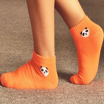 panda pattern Korea cute cartoon Fashion Women socks  candy color socks