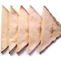 Vintage Napkins Ecru Cotton with Embroidery and Finished Edges Set of 5
