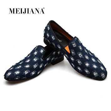 MEIJIANA 2018 New Brand Mens Loafers Luxury Shoes With Denim And Metal Sequins High Quality Casual Men Shoes