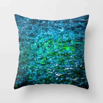 Water Color - Green Throw Pillow by digital2real