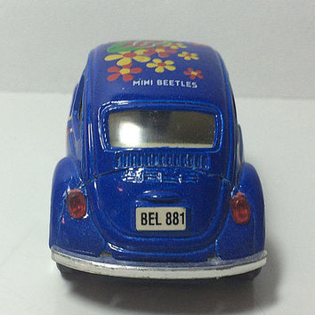 81 Mini VW Beetle Bug Diecast Car Blue Flower Power 1981 Pull Back Toy Volkswagen Collectible Free US Shipping Soaring Hawk Vintage