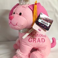 "Graduation Autograph Dog with Cap - Princess Pink Dog - 10.5"" inches"