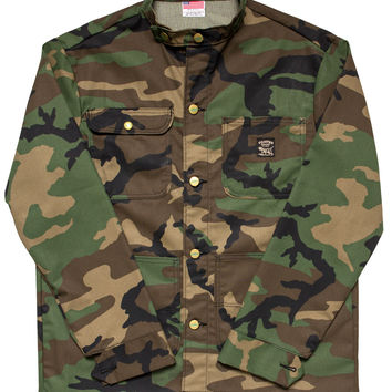 Woodland Camo Chore Coat - Banded Collar