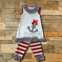 Baby Girl Striped Nautical Anchor outfit