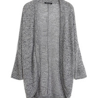 Ash Grey Long-Sleeve Knitted Cardigan