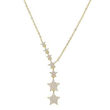 Christmas gift star necklace lariat choker various sized cz bead charm link chain gorgeous european women jewelry