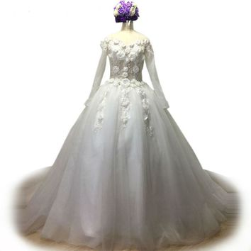 Tulle Wedding Dress 3D Flower Applique Pearl Bridal Gown