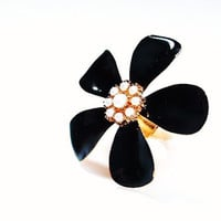 Statement Ring Vintage Flower Ring Huge Cocktail Ring Black Enamel Any Size Stretch