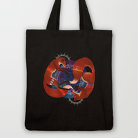 Space Foxes Tote Bag by hannahclairehughes