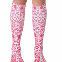 Red Bandana Knee High Socks