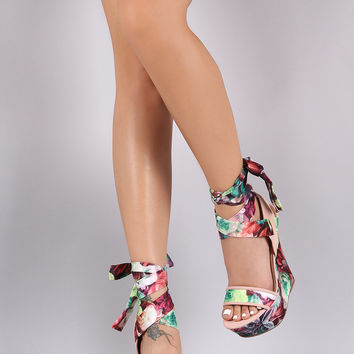 Bamboo Satin Floral Print Ankle Wrap Platform Wedge