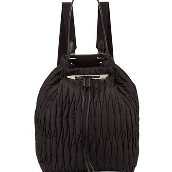 THE ROW Quilted Nylon Drawstring Backpack, Black