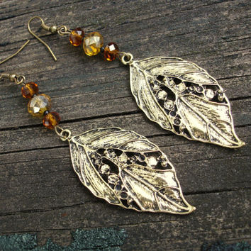 Leaf earrings in antiqued bronze with amber and dark topaz Swarovski crystals