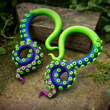 Ombre gauges Color fade tentacle gauges Ombre three color Tentacle gauges Clay gauged octopus tentacle Fake real ear plug Green octopus