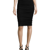 Ruched Tulle Pencil Skirt, Size: