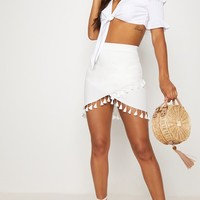White Tassel Trim Detail Wrap Skirt