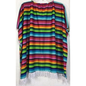 Serape Blanket Print Fringe Poncho Costume Stripe Western Rodeo Cowgirl Party OS