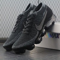 ONETOW Best Online Sale 2018 Nike Air VaporMax Vapor Max 2018 Flyknit Men Women Triple Black Sport Running Shoes 899473-003