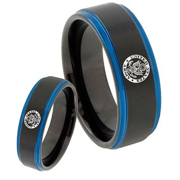 His Hers U.S. Army Blue Step Edges Tungsten Men's Wedding Band Set