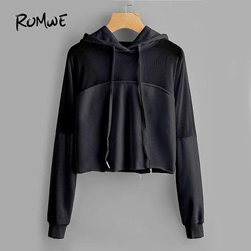 Mesh Panel Raw Hem Solid Hoodie Black Long Sleeve Woman Top And Sweatshirt New Autumn Casual Sweatshirt