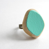 Painted Sea Pottery Ring - Mint Green Adjustable Antiqued Brass Ring