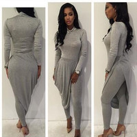 Grey Ruffled Long Sleeve Jumpsuits
