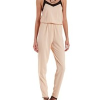 Black Combo Mesh-Trim Spaghetti Strap Jumpsuit by Charlotte Russe