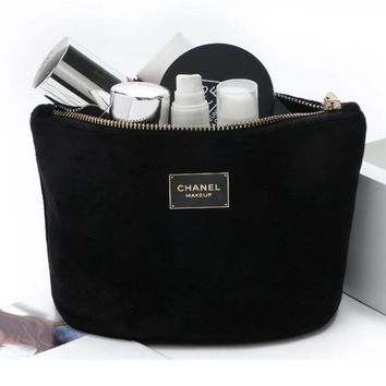 Chanel Trending Women Stylish Velvet Shopping Bag Cosmetic Bag Zipper Handbag Black I12393-1