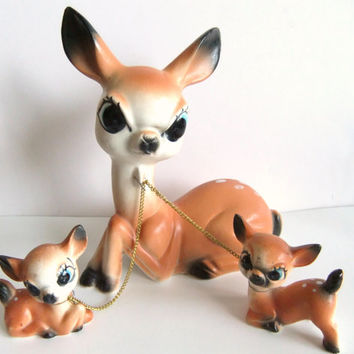Ceramic Deer Figurines, Vintage Deer, Mom and Chained Babies, Japan Kitsch Deer