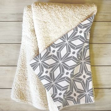 Heather Dutton Starbust Grey Fleece Throw Blanket