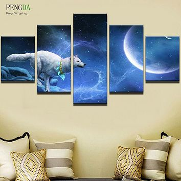 PENGDA Painting Picture Wall Art Home Decoration For Living Room Printing Type 5 Panel Animal Wolf Modern Frames For Paintings