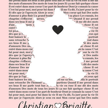 Custom Lyrics, You Choose Song - 8x10 Custom Map Art Print, Paris, France - Song, First Dance, Engagement in Paris, Travel, Our Song, Words