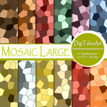 "Mosaic digital paper ""Mosaic Large"" scrapbook papers, geometric background, tiles pattern, mosaic clipart, invitations, cards, collage"