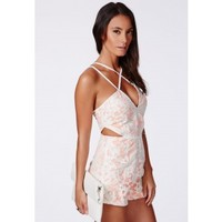 Missguided - Rigonda Lace Romper With Cut Out Detail