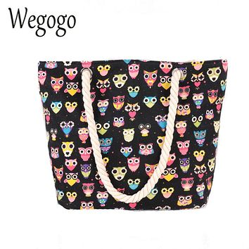 Wegogo New Women Handbag Vintage Boho Colorful Canvas Bags Casual Travel Big Shoulder Bag Owl Printing Shopping Bag Beach Bags
