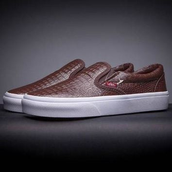 VANS Slip-On Leather Old Skool Flats Sneakers Sport Shoes
