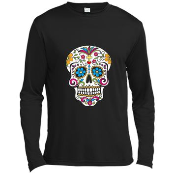 Day of the Dead Sugar Skull  Long Sleeve Moisture Absorbing Shirt