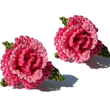 Tatted lace rose earring bohemian hot pink by LandofDante on Etsy
