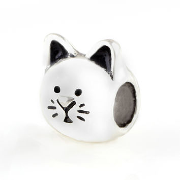 Cat Silver Charm Beads big hole bead Chamilia Spacer European Murano Czech DIY Bead Charm Fit For Pandora Bracelet Charms